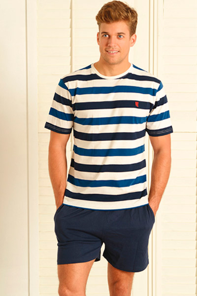 Pijama corto en azul con líneas para hombre