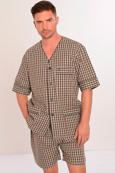 Pijama corto de tela para hombre