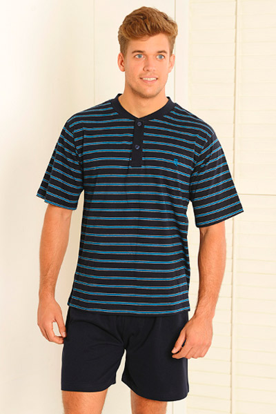 Pijama corto para hombre en color negro