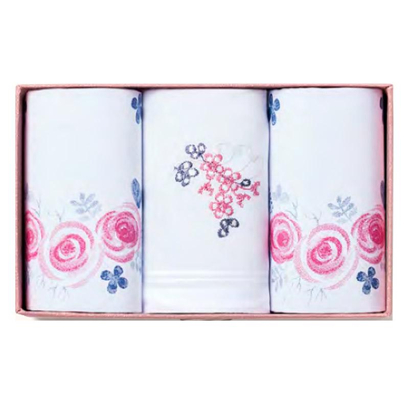 Pañuelos de tela para mujer con bordado de rosas