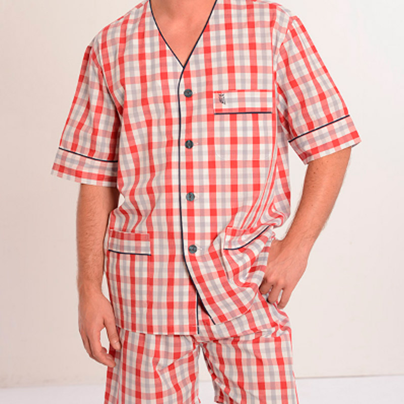 Pijama corto de tela a cuadros para hombre