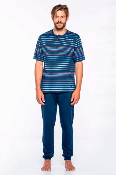 Pijama largo en azul marino para hombre