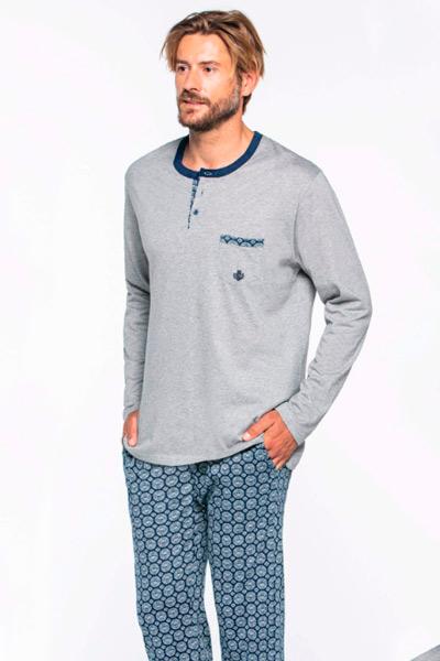 Pijama de pantalón largo en gris para hombre
