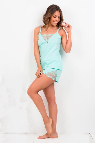 Pijama lencero para mujer en azul turquesa