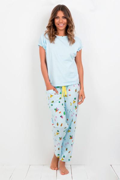 Pijama largo para mujer en color azul cielo