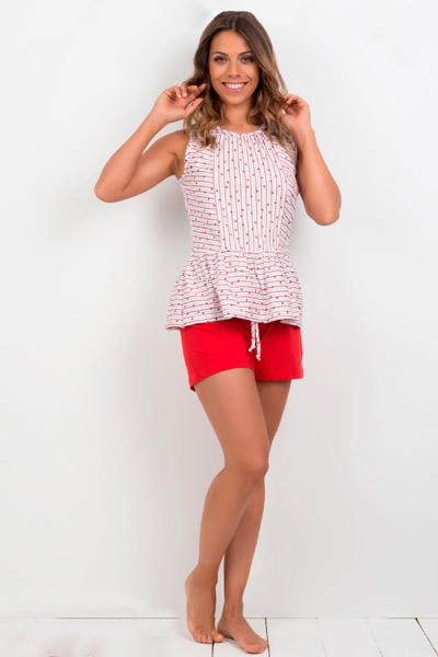 Pijama corto de mujer en color rojo