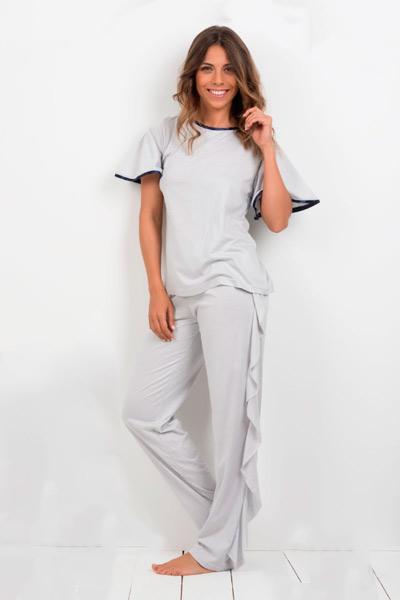 Pijama largo en gris para mujer